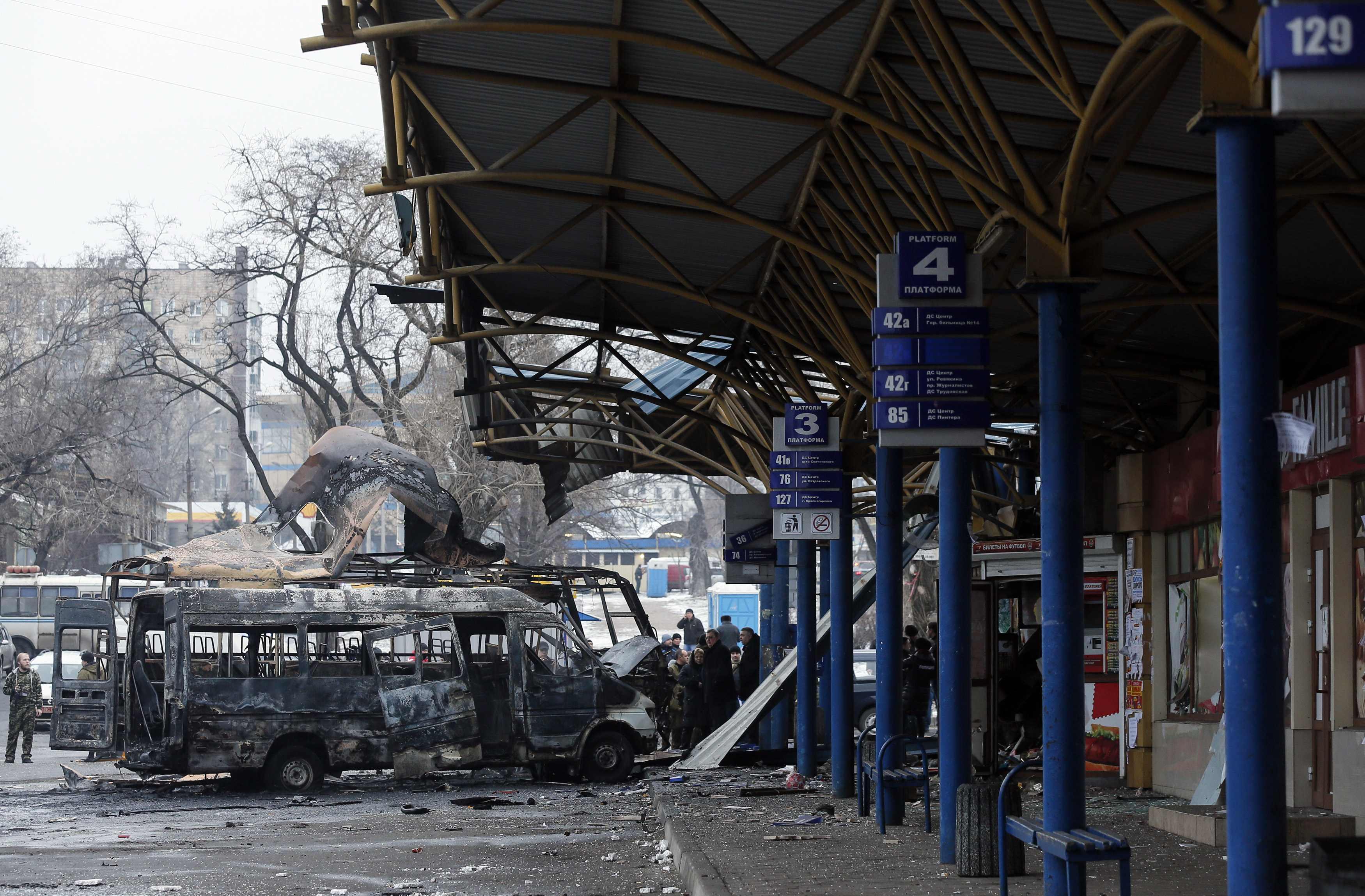 В центре Донецка обстреляли автостанцию (ФОТО, ВИДЕО)