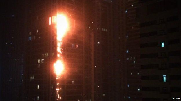ФОТО: Ночью горело самое высокое жилое здание мира