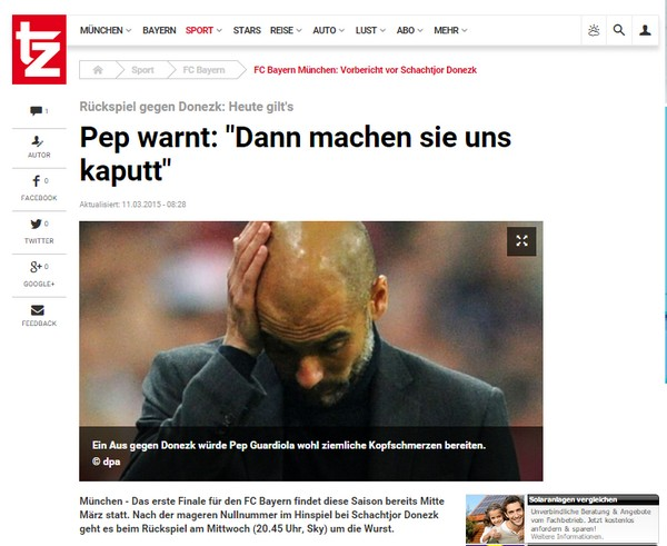 СМИ Германии о матче Бавария - Шахтер
