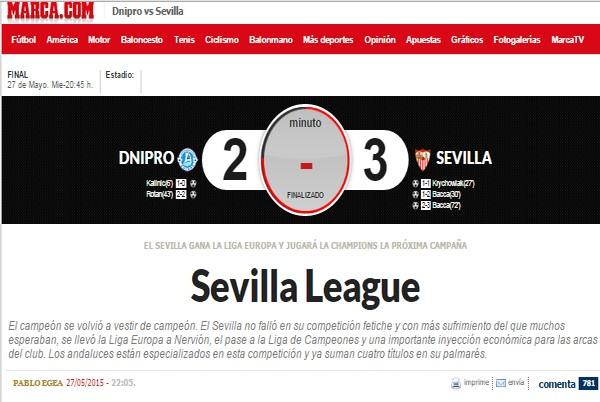 Испанские СМИ о матче Днепр - Севилья