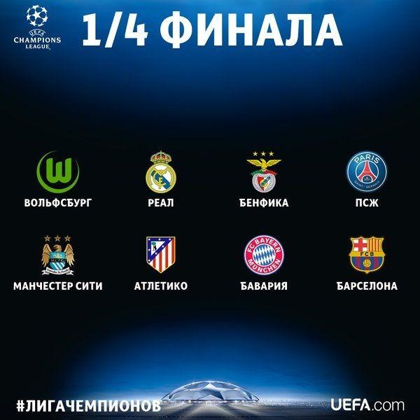 Сегодня будет проходить жеребьевка 1/4 конца Лиги Чемпионов
