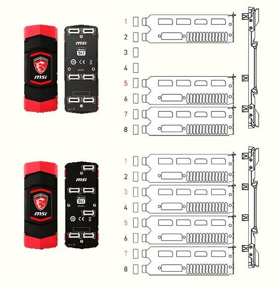 Наборы MSI SLI-мостов на 3-4 видеокарты GeForce GTX900