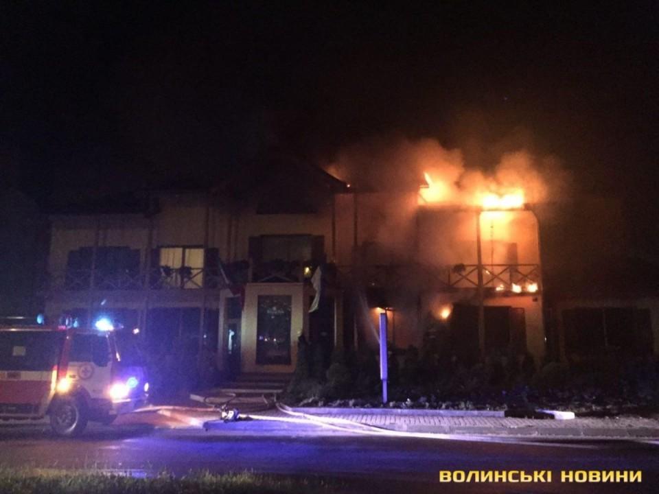 В луцком отеле ночью вспыхнул масштабный пожар