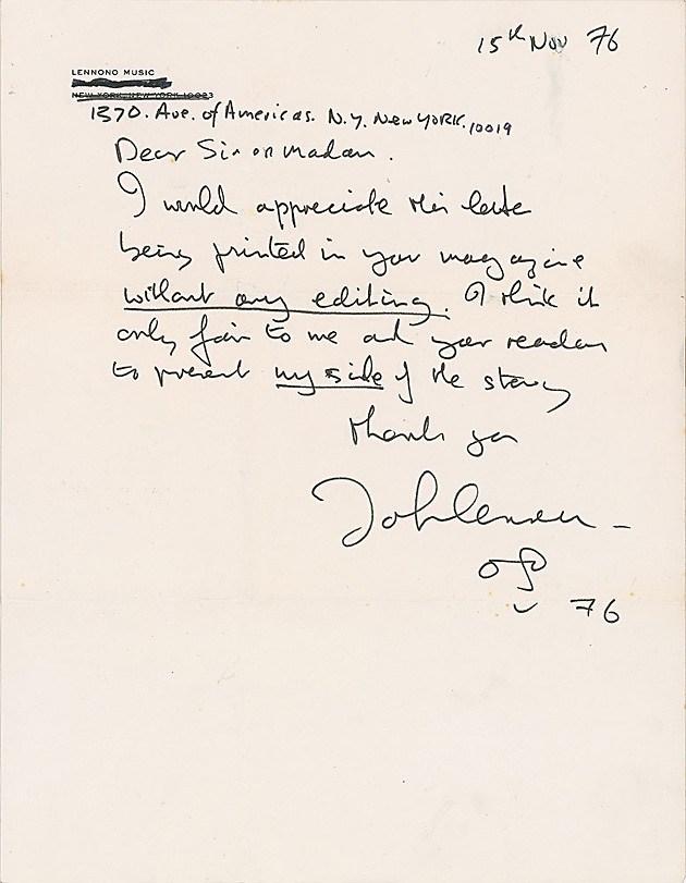 Письма Джона Леннона к его жене опубликованы спустя 40 лет